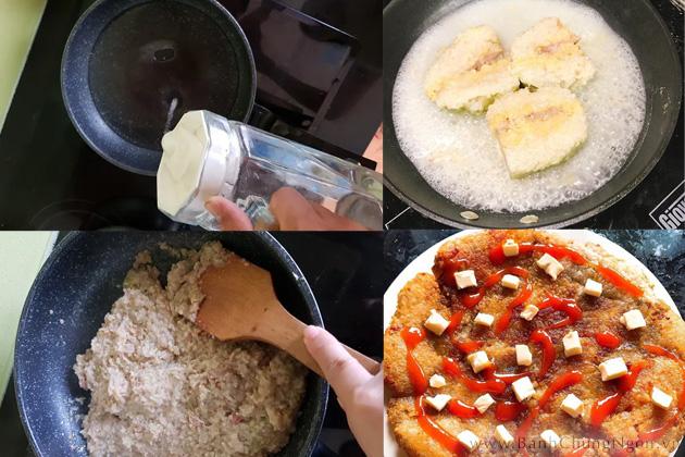 Cách làm bánh chưng rán Pizza đặc biệt